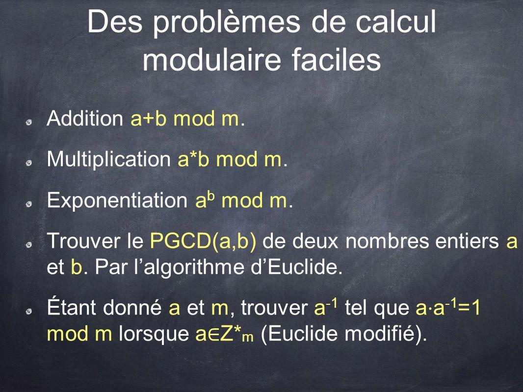 Des problèmes de calcul modulaire faciles