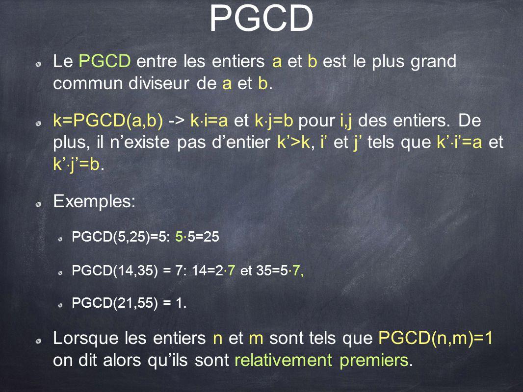 PGCD Le PGCD entre les entiers a et b est le plus grand commun diviseur de a et b.