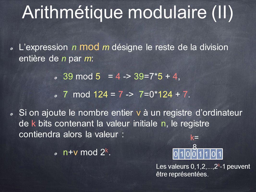 Arithmétique modulaire (II)