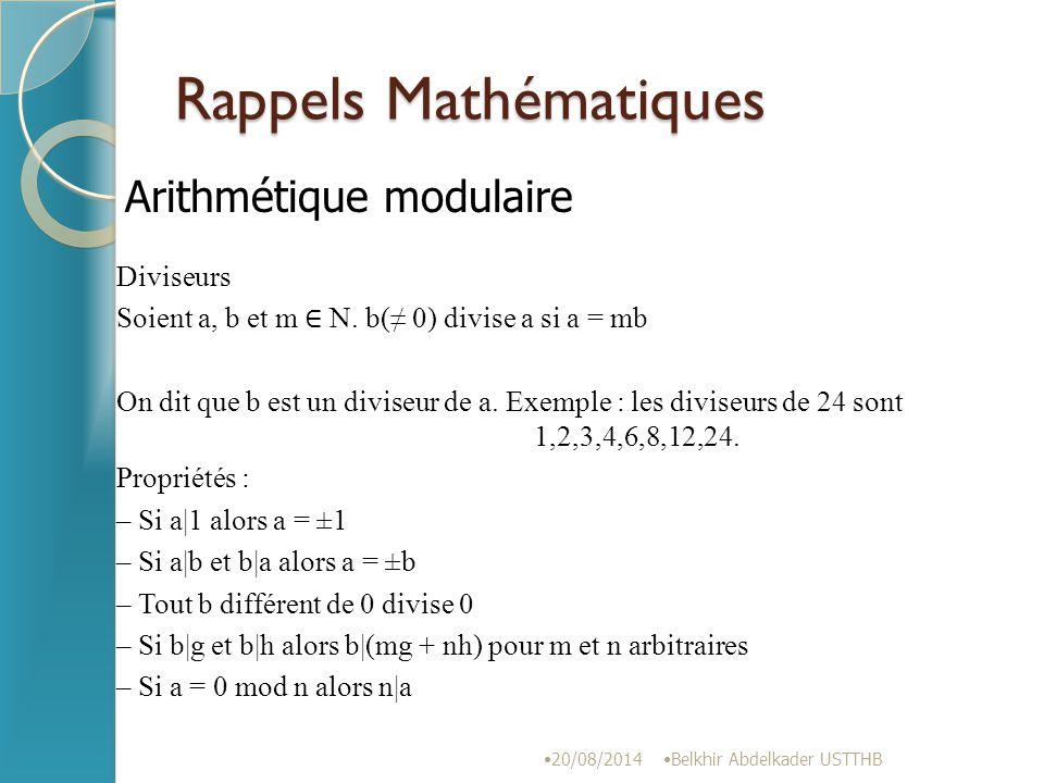 Rappels Mathématiques