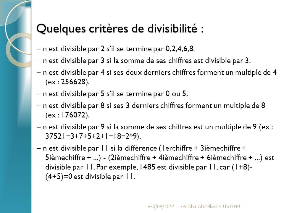 Quelques critères de divisibilité :