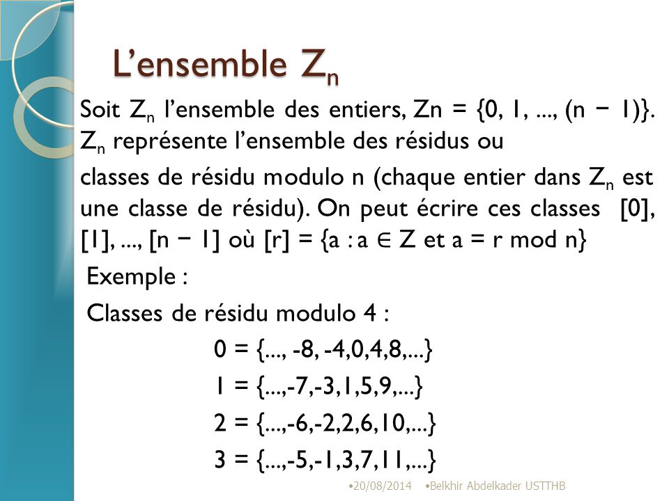 L'ensemble Zn