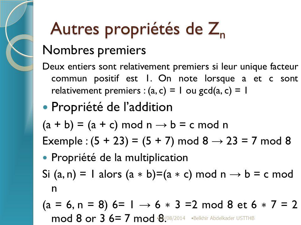 Autres propriétés de Zn