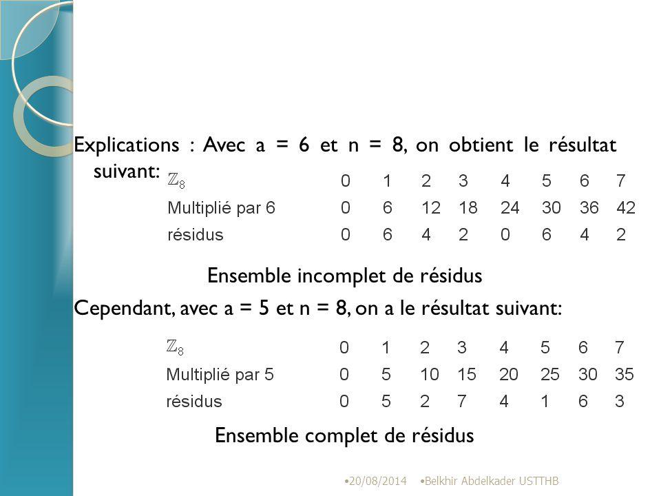 Explications : Avec a = 6 et n = 8, on obtient le résultat suivant: Ensemble incomplet de résidus Cependant, avec a = 5 et n = 8, on a le résultat suivant: Ensemble complet de résidus