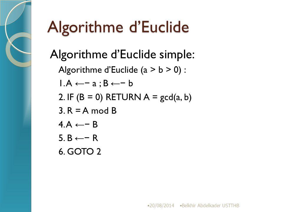 Algorithme d'Euclide Algorithme d'Euclide simple: