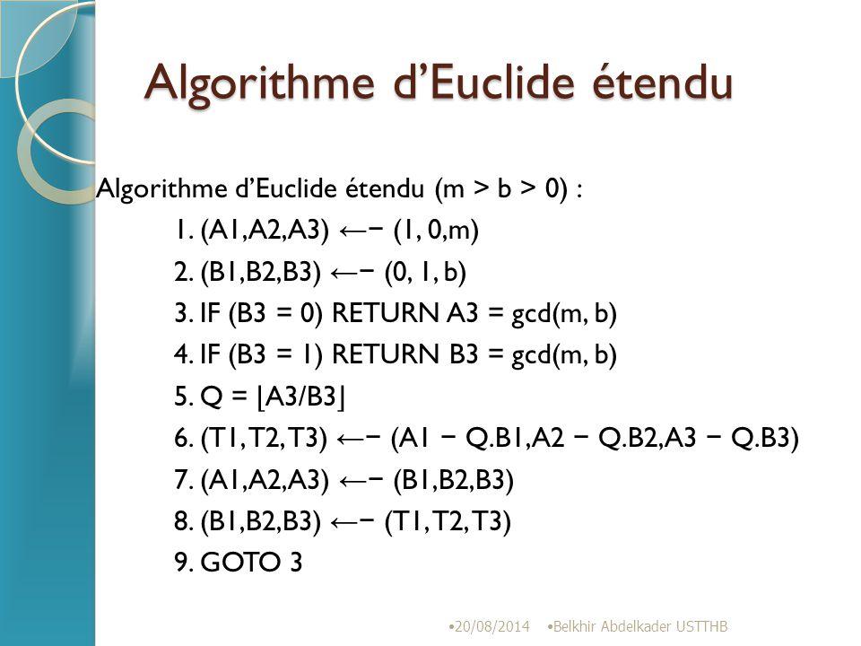 Algorithme d'Euclide étendu