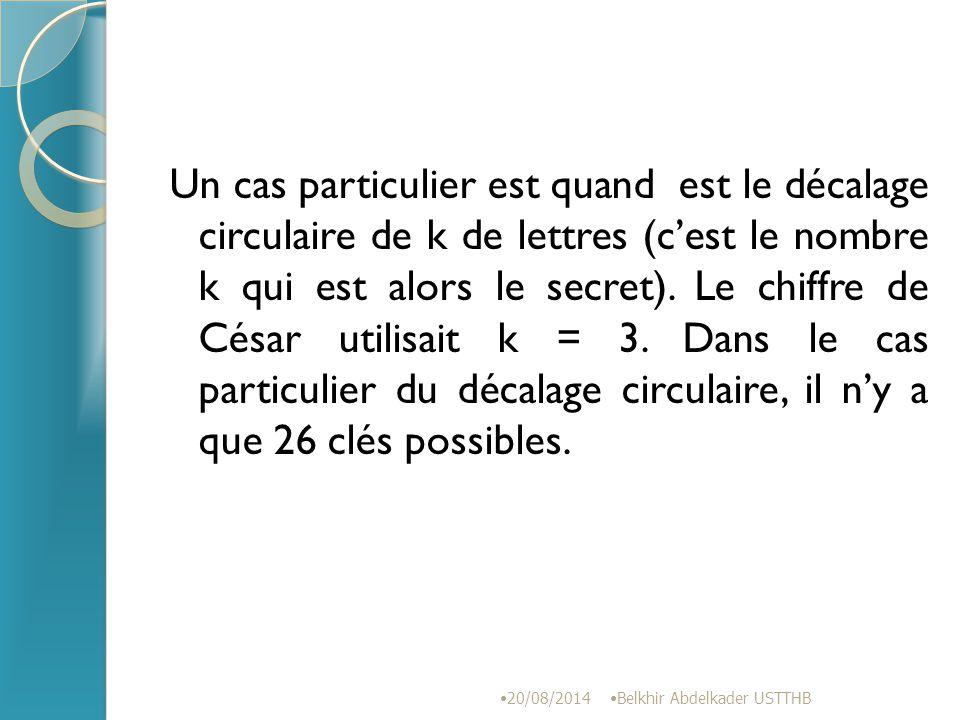 Un cas particulier est quand est le décalage circulaire de k de lettres (c'est le nombre k qui est alors le secret). Le chiffre de César utilisait k = 3. Dans le cas particulier du décalage circulaire, il n'y a que 26 clés possibles.
