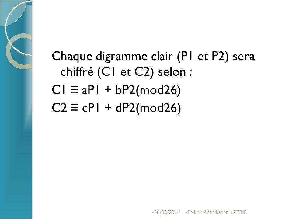 Chaque digramme clair (P1 et P2) sera chiffré (C1 et C2) selon : C1 ≡ aP1 + bP2(mod26) C2 ≡ cP1 + dP2(mod26)