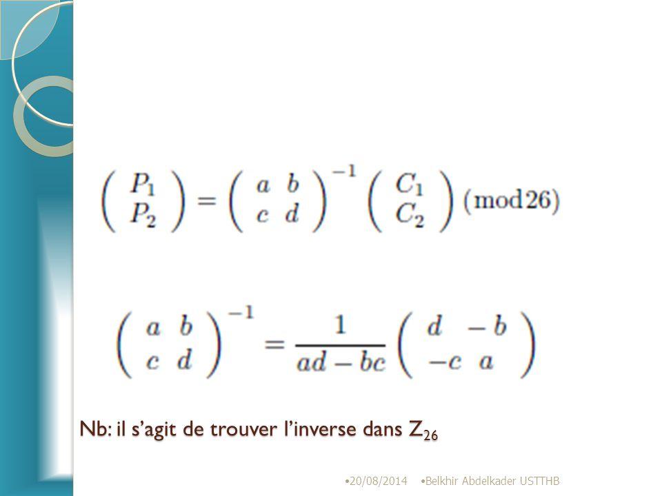 Nb: il s'agit de trouver l'inverse dans Z26