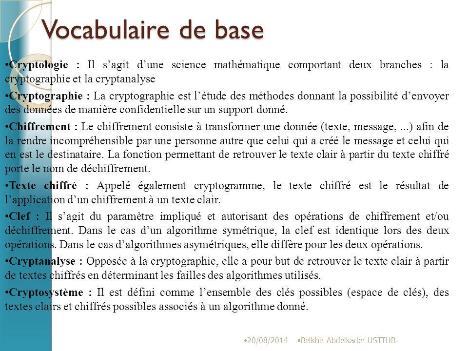 Vocabulaire de base Cryptologie : Il s'agit d'une science mathématique comportant deux branches : la cryptographie et la cryptanalyse.