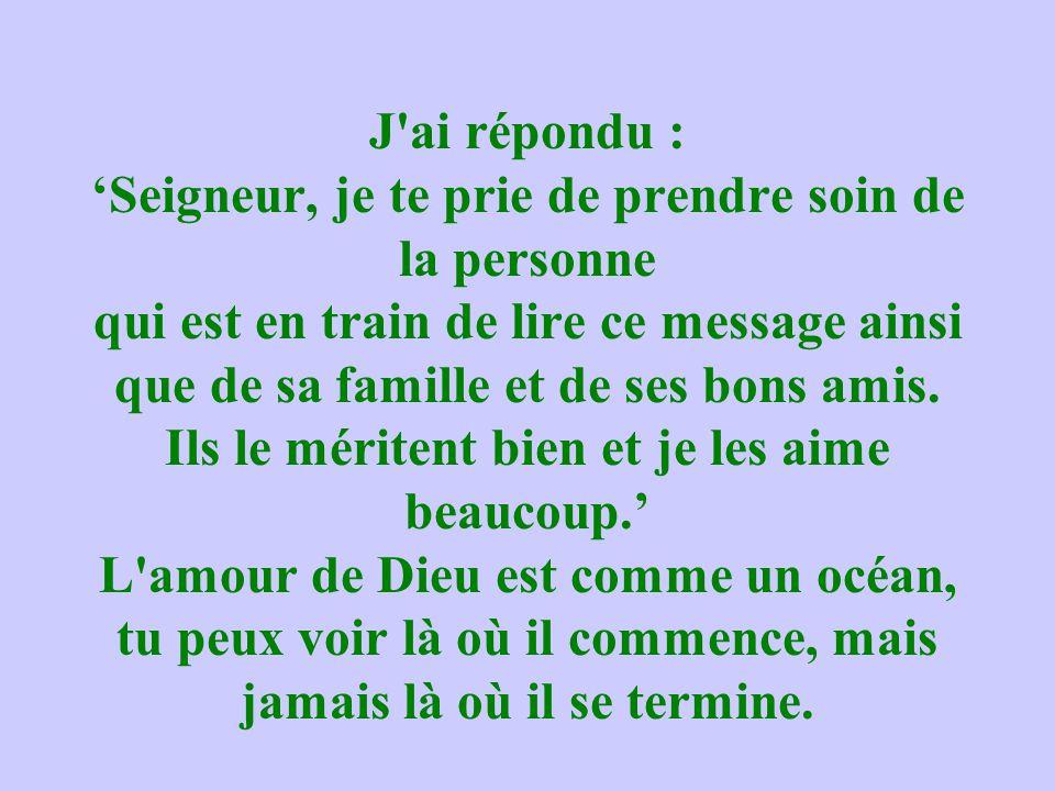 J ai répondu : 'Seigneur, je te prie de prendre soin de la personne qui est en train de lire ce message ainsi que de sa famille et de ses bons amis.