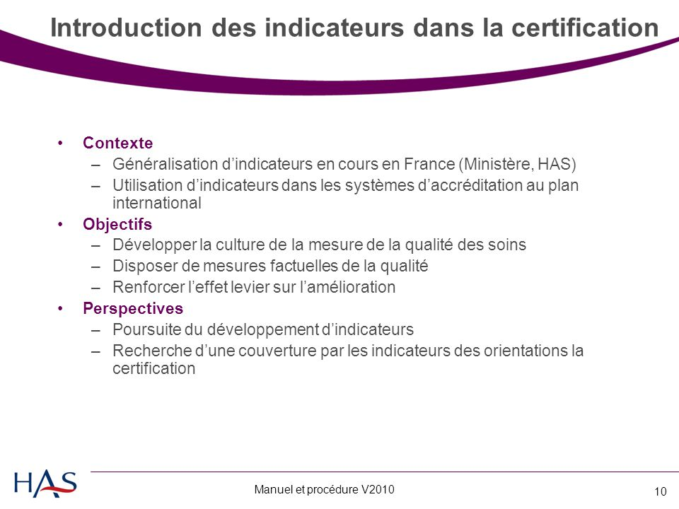 Introduction des indicateurs dans la certification