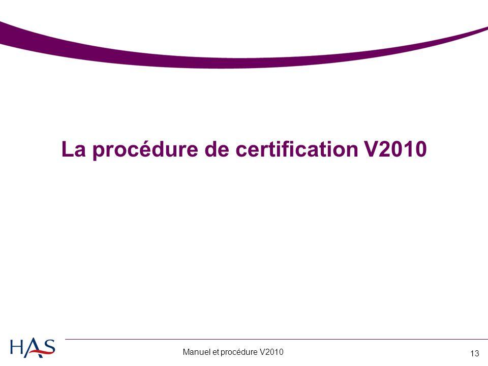La procédure de certification V2010