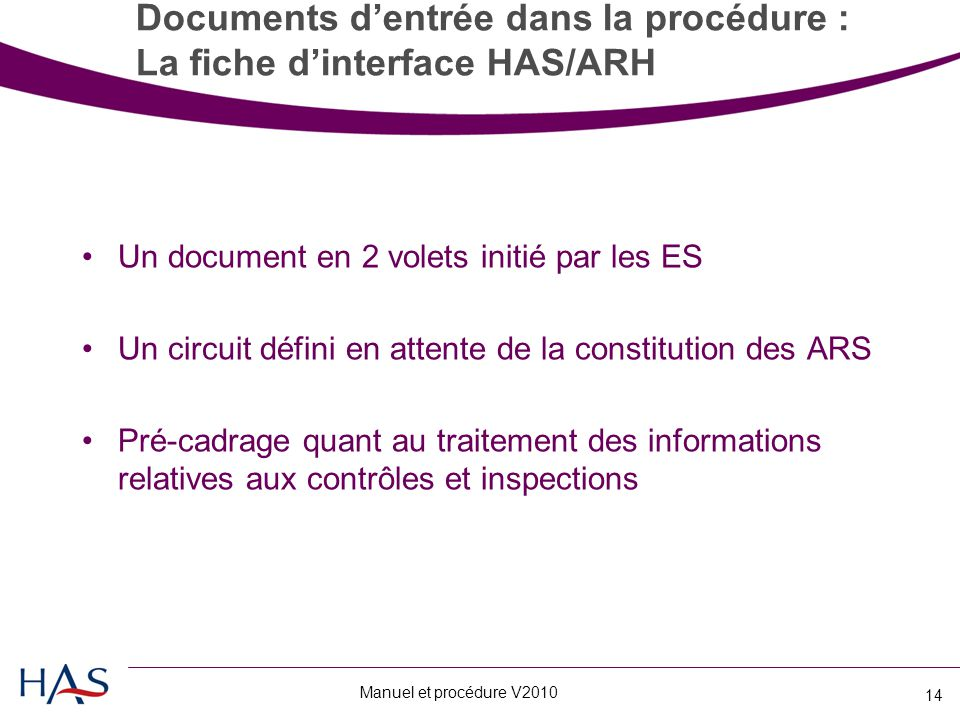 Documents d'entrée dans la procédure : La fiche d'interface HAS/ARH