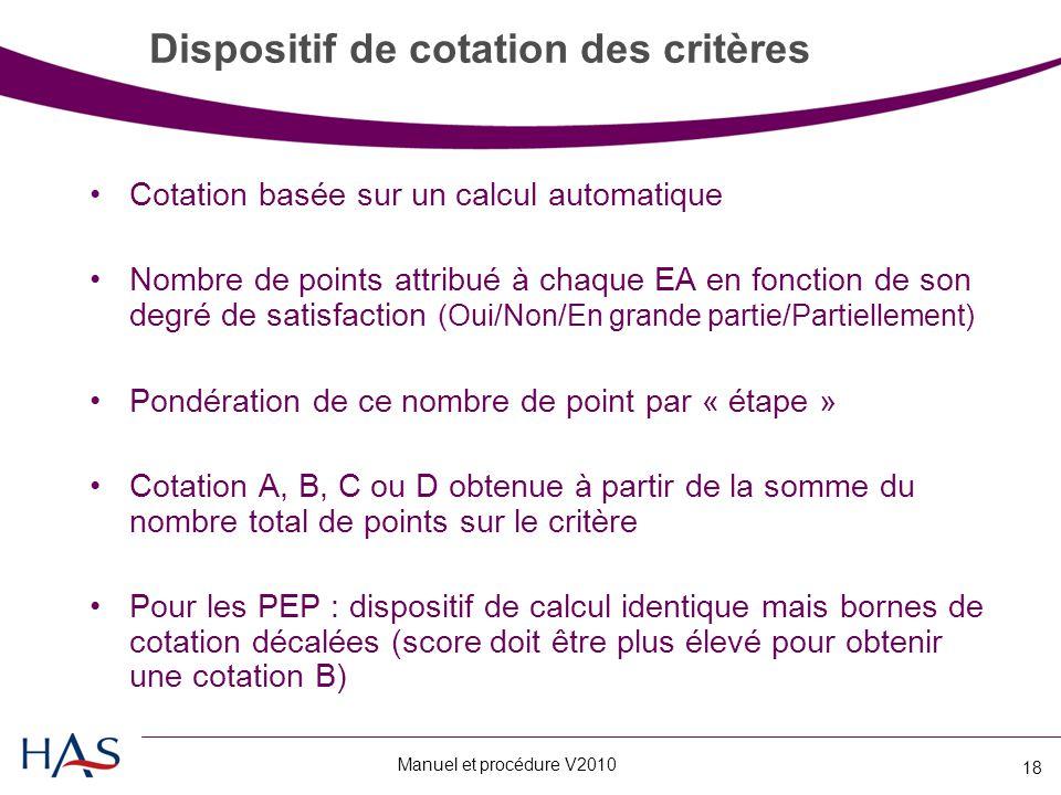 Dispositif de cotation des critères