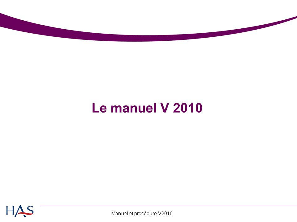 Le manuel V 2010
