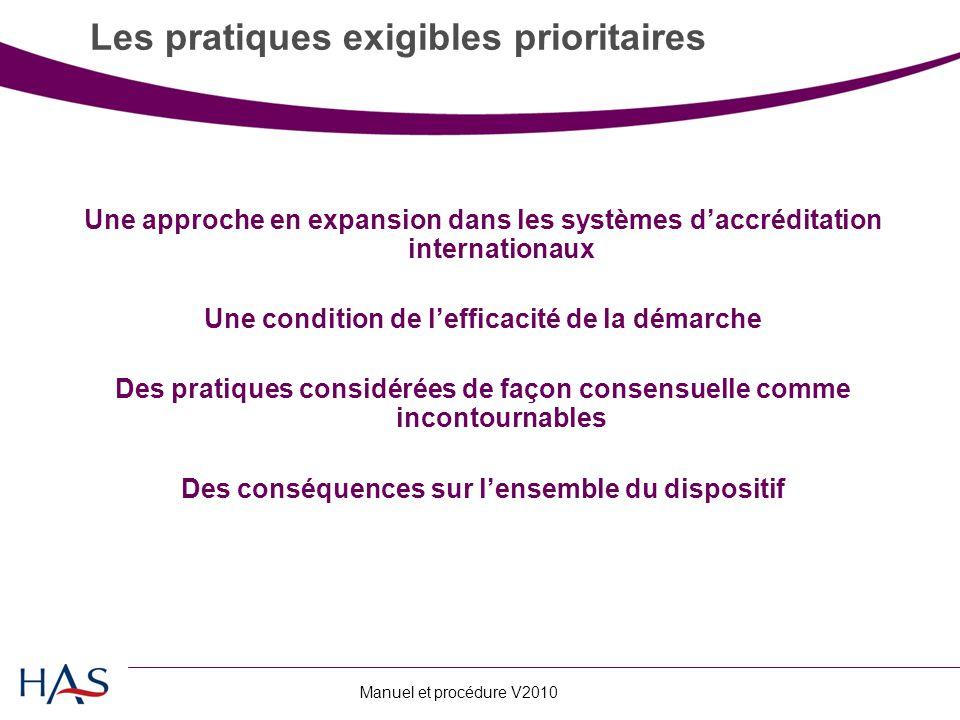 Les pratiques exigibles prioritaires