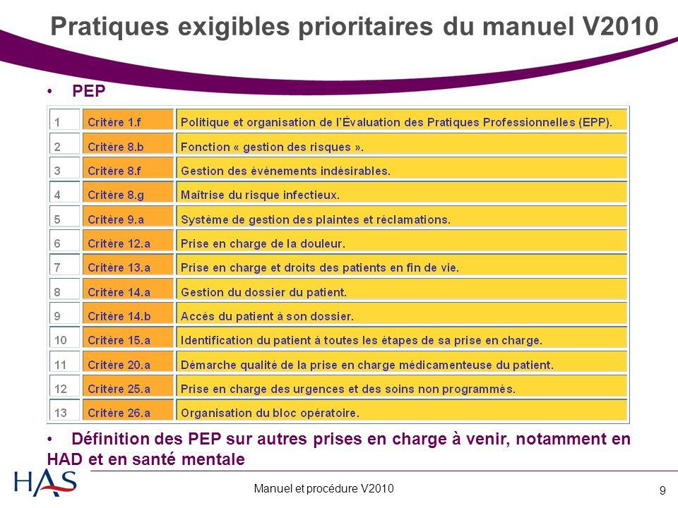 Pratiques exigibles prioritaires du manuel V2010