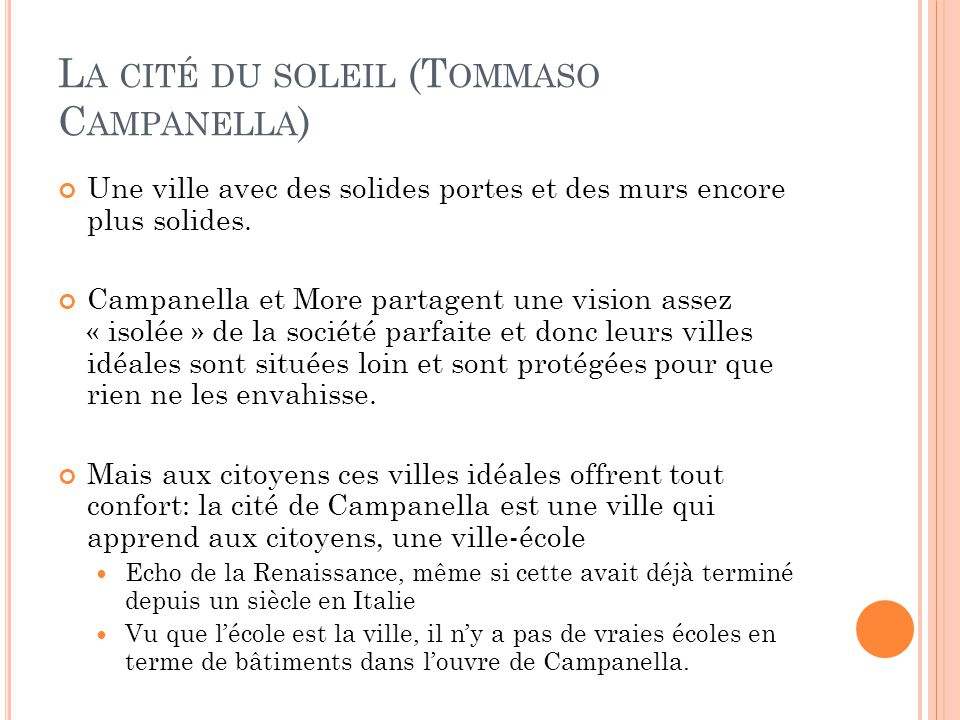 La cité du soleil (Tommaso Campanella)