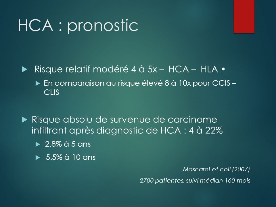 HCA : pronostic Risque relatif modéré 4 à 5x – HCA – HLA •