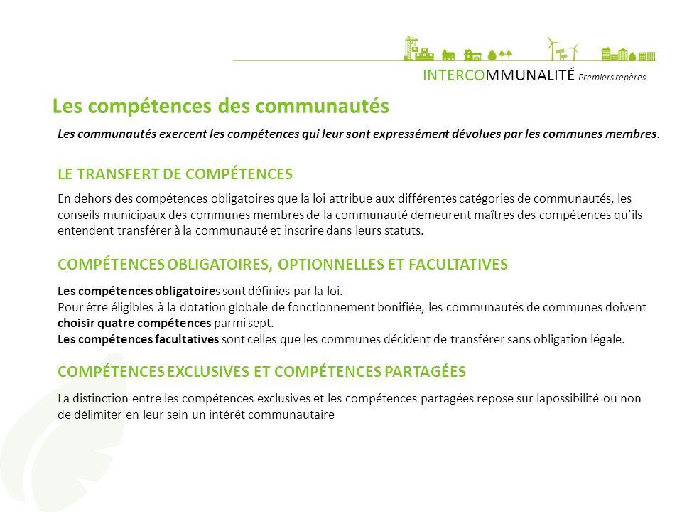 Les compétences des communautés
