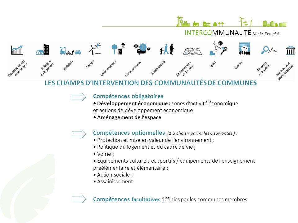 LES CHAMPS D'INTERVENTION DES COMMUNAUTÉS DE COMMUNES