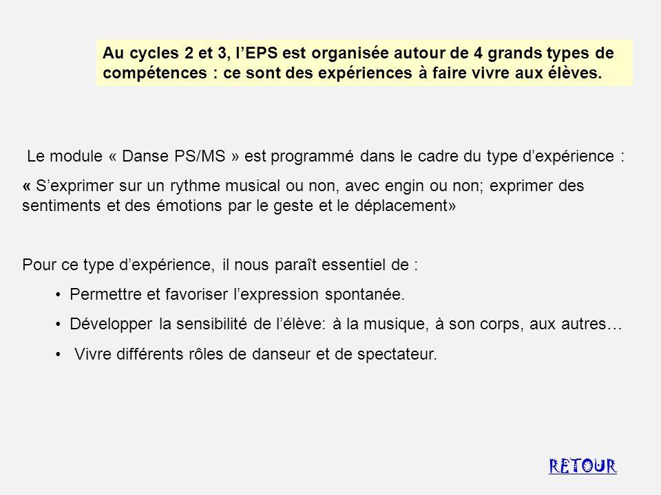 Au cycles 2 et 3, l'EPS est organisée autour de 4 grands types de compétences : ce sont des expériences à faire vivre aux élèves.
