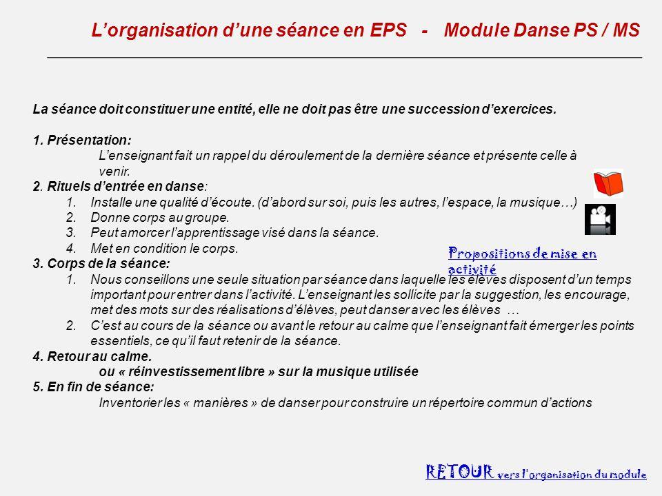 L'organisation d'une séance en EPS - Module Danse PS / MS
