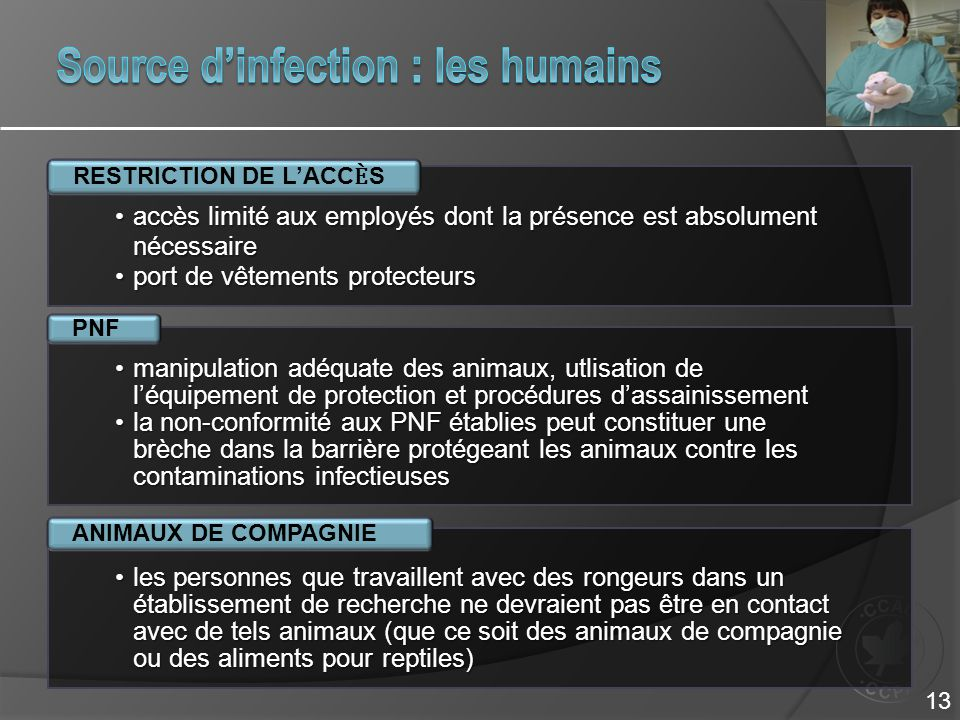 Source d'infection : les humains