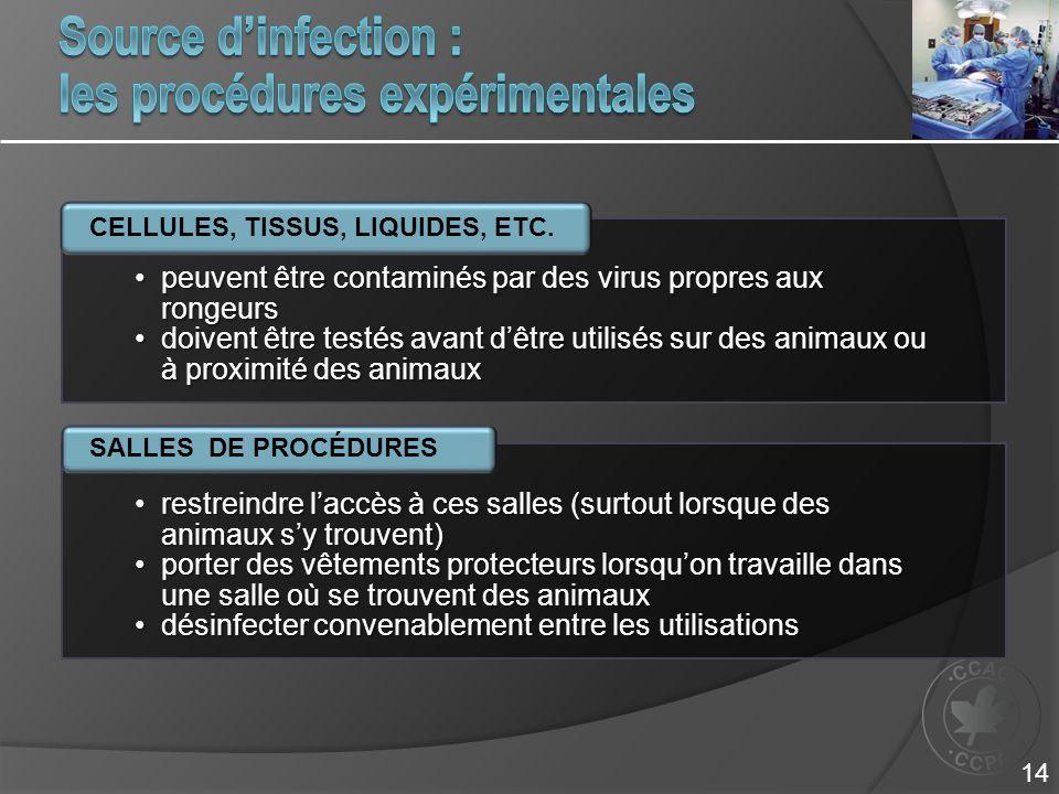 Source d'infection : les procédures expérimentales