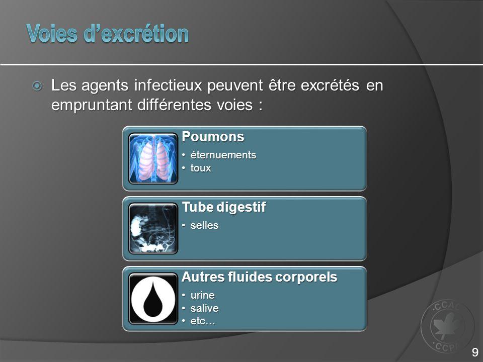 Voies d'excrétion Les agents infectieux peuvent être excrétés en empruntant différentes voies : Poumons.
