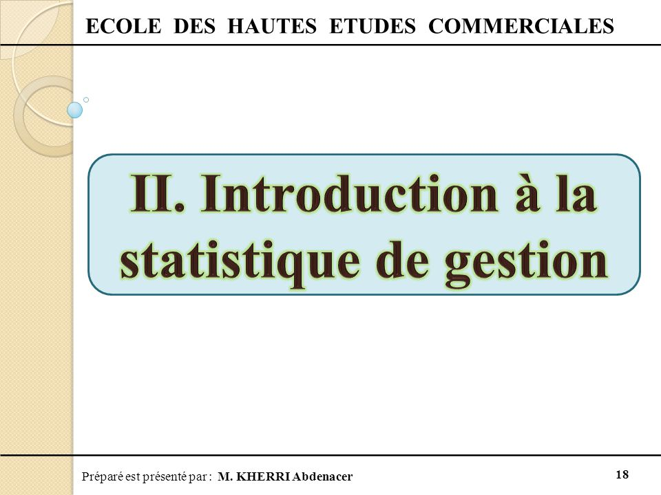 II. Introduction à la statistique de gestion