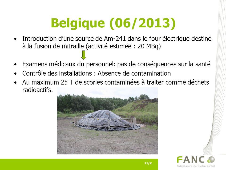 Belgique (06/2013) Introduction d'une source de Am-241 dans le four électrique destiné à la fusion de mitraille (activité estimée : 20 MBq)