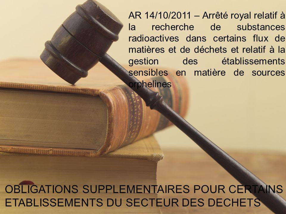 AR 14/10/2011 – Arrêté royal relatif à la recherche de substances radioactives dans certains flux de matières et de déchets et relatif à la gestion des établissements sensibles en matière de sources orphelines