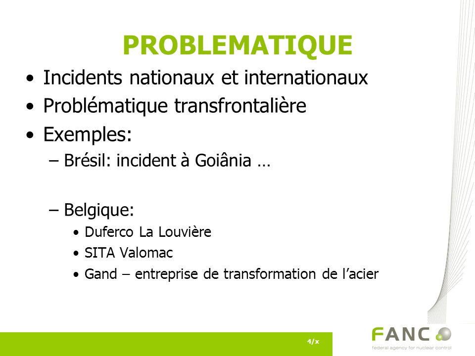 PROBLEMATIQUE Incidents nationaux et internationaux
