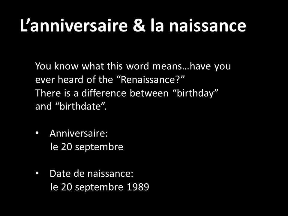 L'anniversaire & la naissance