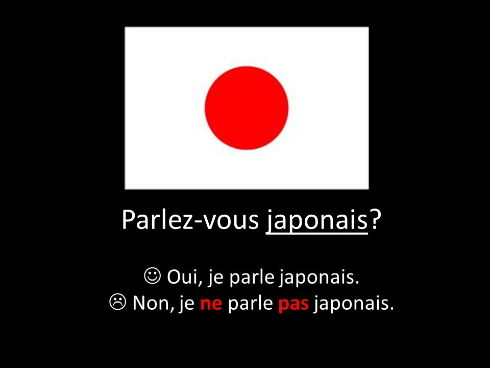  Non, je ne parle pas japonais.