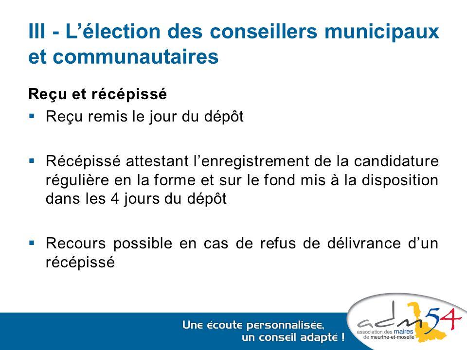 III - L'élection des conseillers municipaux et communautaires