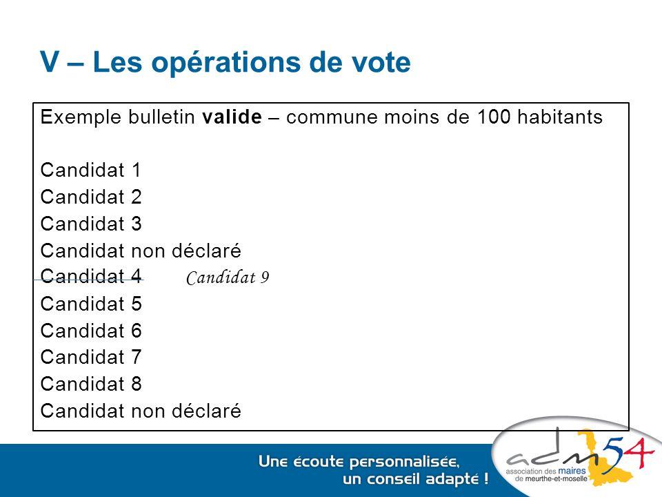 V – Les opérations de vote