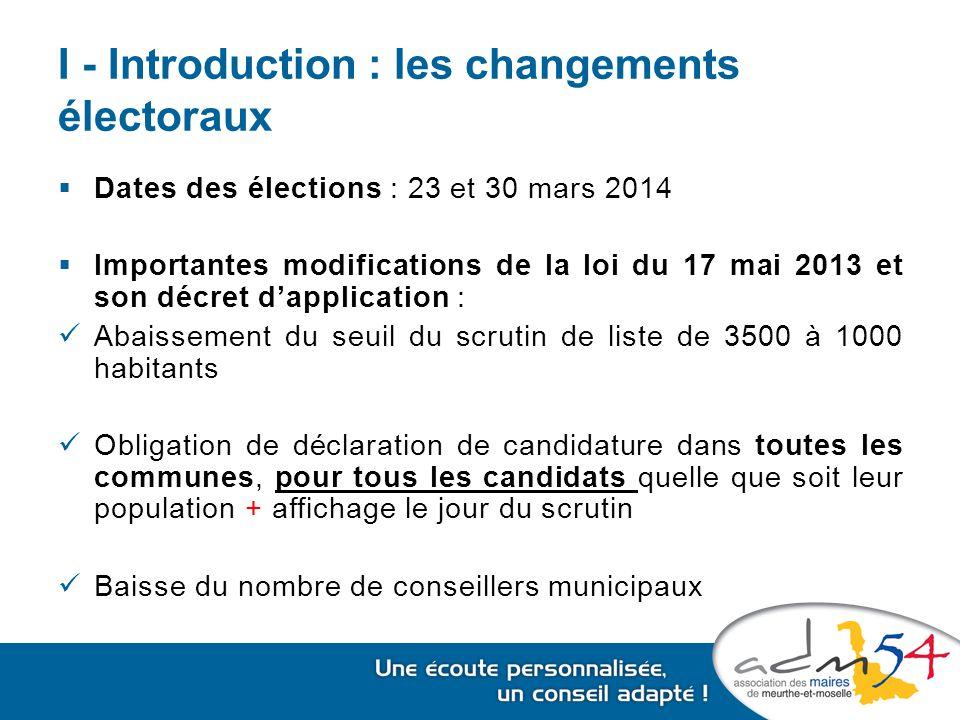 I - Introduction : les changements électoraux