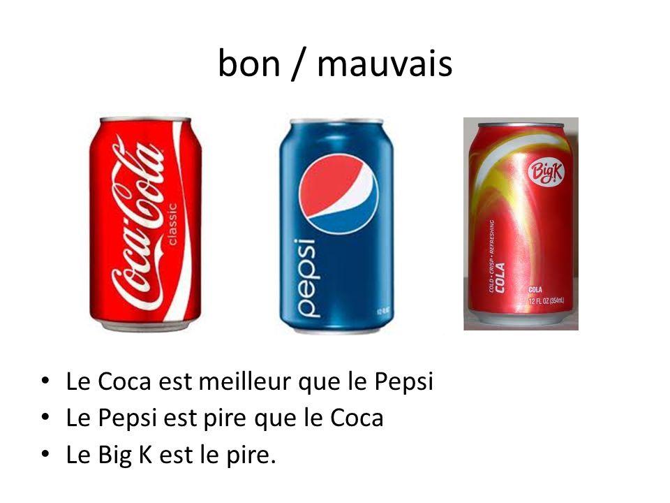 bon / mauvais Le Coca est meilleur que le Pepsi