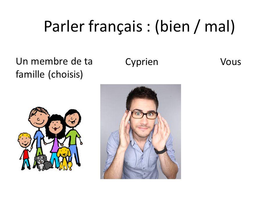 Parler français : (bien / mal)