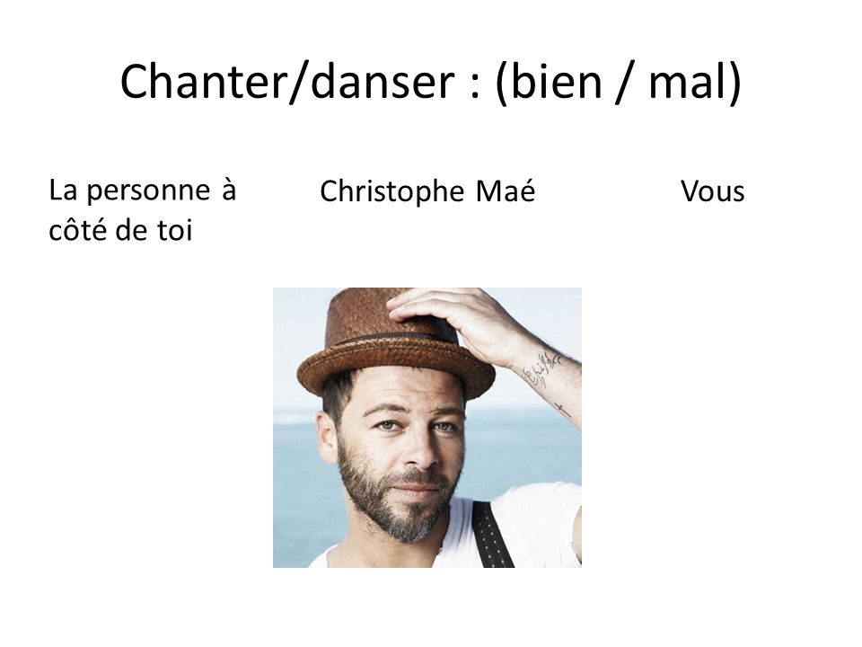 Chanter/danser : (bien / mal)