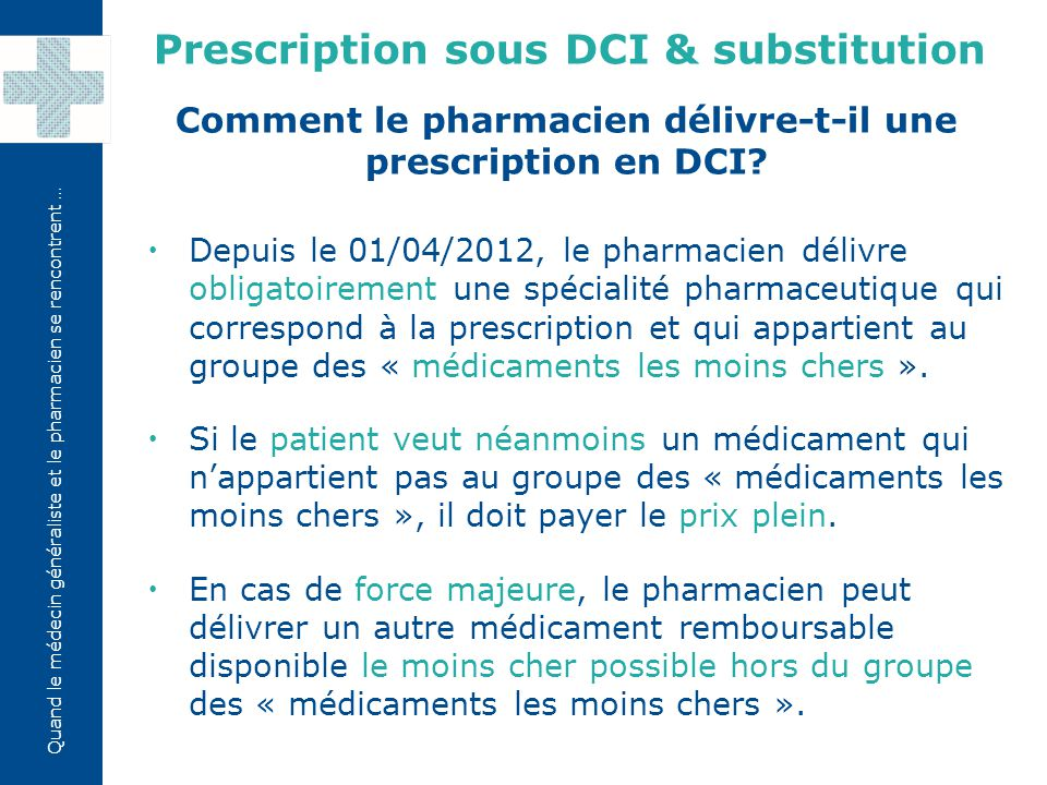 Prescription sous DCI & substitution