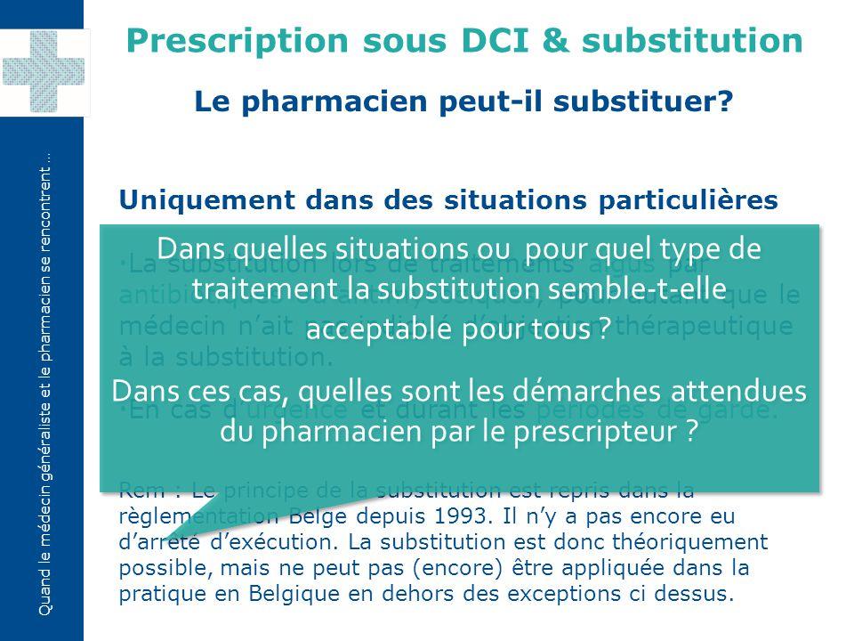 Prescription sous DCI & substitution Le pharmacien peut-il substituer