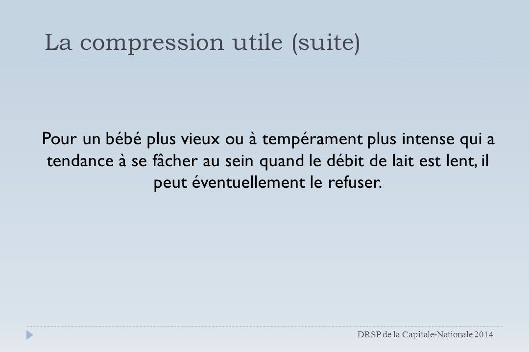 La compression utile (suite)