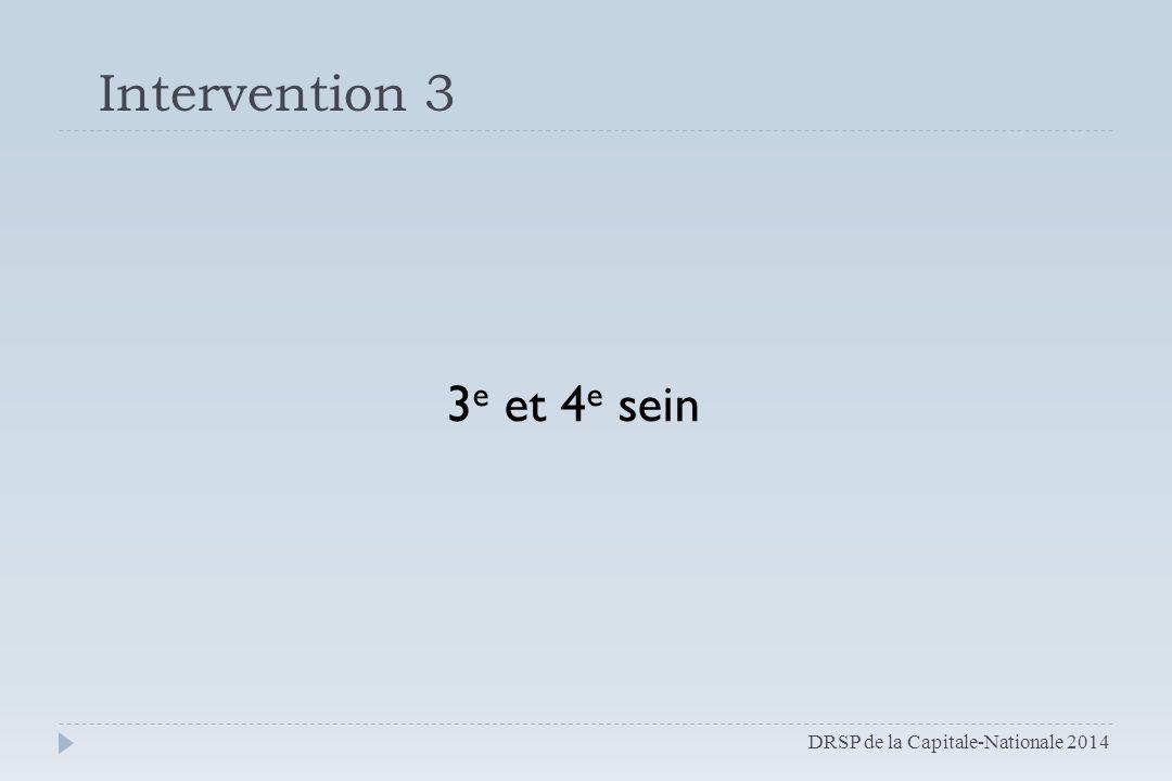 Intervention 3 3e et 4e sein DRSP de la Capitale-Nationale 2014