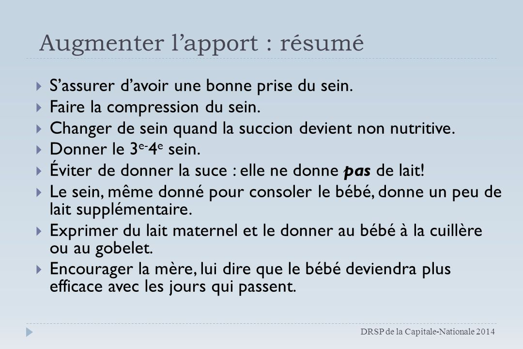 Augmenter l'apport : résumé
