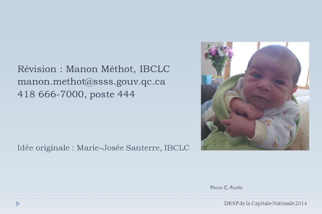 Révision : Manon Méthot, IBCLC manon.methot@ssss.gouv.qc.ca