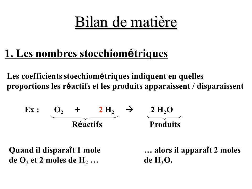 Bilan de matière 1. Les nombres stoechiométriques